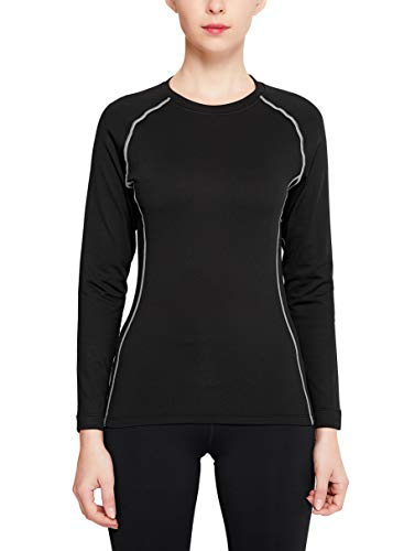 Women's Fleece Lined Thermal Top Women Winter Gear Compression Shirt Baselayer Long Sleeve Shirts (Black, Medium)