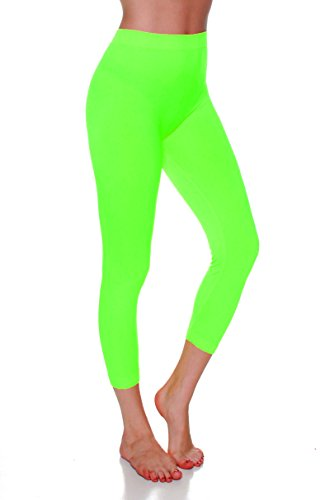 Emmalise Women Seamless Capri Layering Leggings - Neon Green, One Size