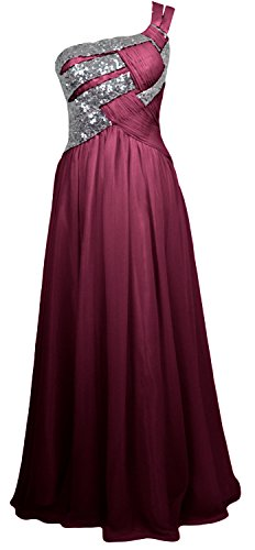 MACloth Women One Shoulder Long Briesmaid Dress Wedding Evening Party Gown Wine Red