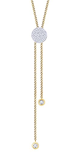 Round Shape White Natural Diamond Circle Bolo Pendant Necklace in 10K Yellow Gold (0.11 Cttw)