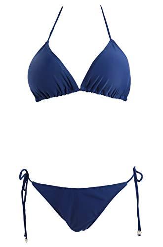 Jonathan Swim Brazilian Bikini Push Up Padded Top Strappy Bottom Triangle Swimsuit(Navy Blue,xs)
