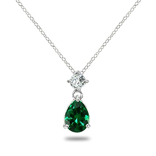 - Sterling Silver Simulated Emerald & White Topaz 9x7mm Teardrop Slide Dangling Necklace