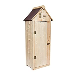 Wooden Garden Shed – Small Outdoor Tool Storage – Sentry Shed with Door and Roof Latch – Made in Europe (Natural)