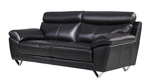 American Eagle Furniture Valencia Collection Italian Leather Living Room Sofa with Pillow Top Armrests, Black