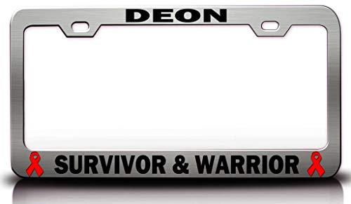 Custom Brother - Deon Survivor & Warrior Male Cancer Survivor Steel Metal License Plate Frame Ch