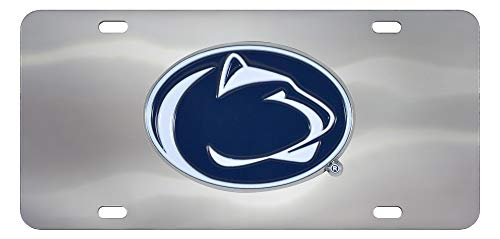 SLS FANMats Penn State Nittany Lions Premium Die Cast Solid Metal Chrome License Plate Tag University of