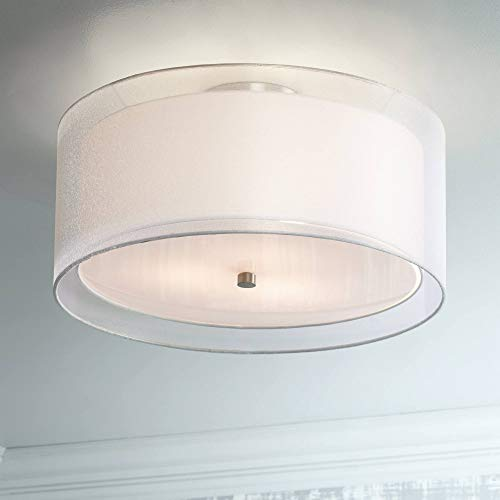 Ceiling Light Flush Mount Fixture Polished Nickel Double Drum 18