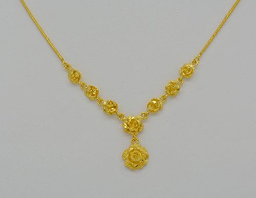 Yellow Gold GP Flower Rose Snake Chain Drop Pendant Necklace 1 mm 18 inches ()