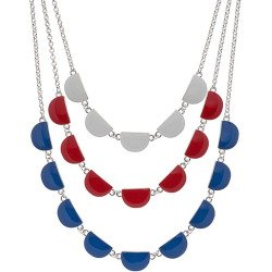 Red, White & Blue Layered Half Circle Necklace, Women's, ...