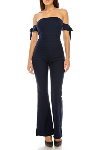 StyleEvery1 Women's Sexy Off Shoulder Bow Tie Sleeves Palazzo Pants Summer Casual Jumpsuits (Large, Navy) by StyleEvery1