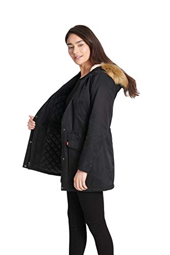 Levi's Women's Performance Sherpa Lined Midlength Parka Jacket, Black, Small