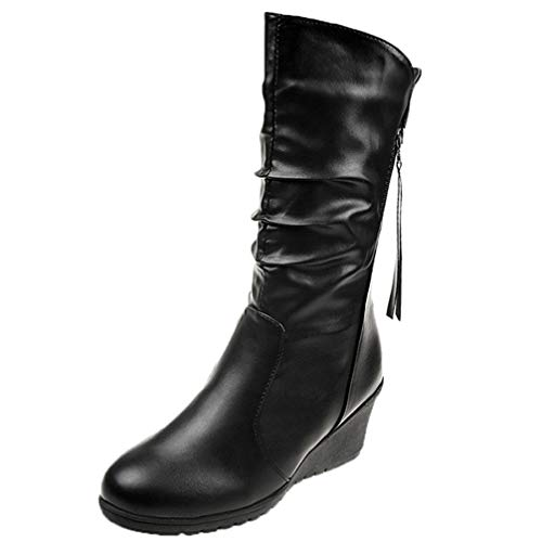 Winter Boots Women Shoes Woman Wedges High Heels Mid Calf Boots Pleated Solid Black Women Boots