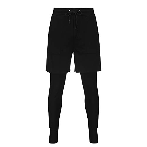 Allywit Men's Sports Shorts, 2 in 1 Training Running Basketball Tights Pants for Workout Gym Fitness Riding Black by Allywit-Pants (Image #8)