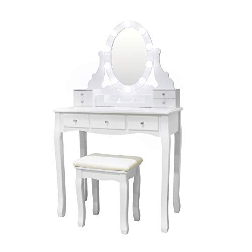 Vanity Set Oval Mirror Surrounds 10 Small Light Bulb and Cushioned Stool, -