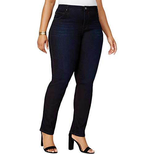 Lee Platinum Label Womens Plus Denim High-Rise Classic Straight Jeans Navy 16W ()