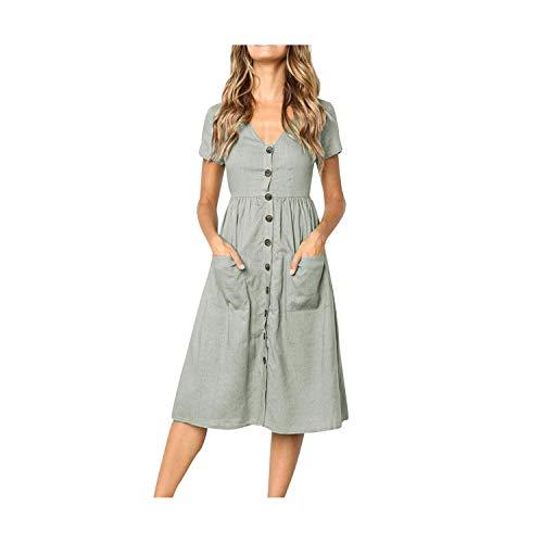 Casual Dress Fit and Flare Bohemian Beach Dress V-Neck Short Feminino Vestido S-XL,Gray,L -