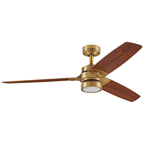 Rivet Modern Remote Control AC Motor Ceiling Flush Mount Fan with 18W LED Light - 52 x 52 x 7.6 Inches, Aged Brass with Maple Finish Blades