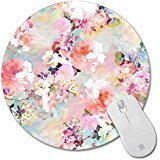 Non-Skid Rubber Pad Personalized Round Desktop Mousepad, Colorful Flower design
