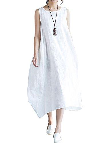 IDEALSANXUN Women's A-line Sleeveless Cotton Linen Loose Long Dress (Sleeveless White, Large)