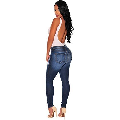 Con Strappati 2 Donna Denim Frontali Betrothales Tasche Matita Skinny Vita Media Pantalone A Trousers Pantaloni Stretch Stil Bottoni Jeans PgzqAU