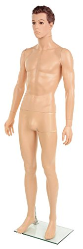 Displays2go Realistic Male Mannequin with Formed Hair, St...