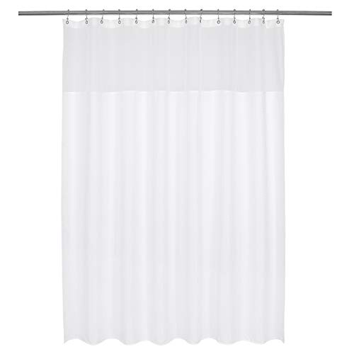 - Barossa Design Long and Wide Fabric Shower Curtain with Sheer Window 78 x 78 inch, Waffle Weave, Hotel Collection, 230GSM Heavyweight, Water Repellent, Machine Washable, White, 78x78
