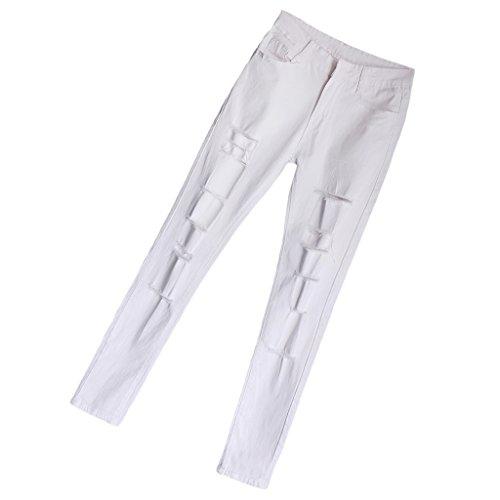 Leggings Per Sottili Pantalone Pantaloni Bianca Distrutte Magideal Donna Strappato Jeans n4qwYZ