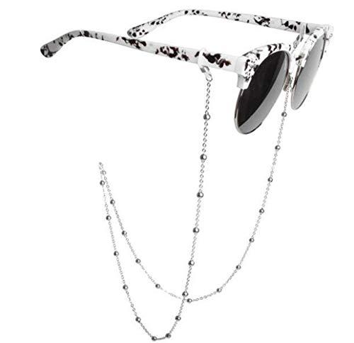 - erioctry Fashionable Non-Slip Retro Metal Eyeglass Beaded Glasses Chain Secure Glasses Cord Sunglasses Neck Strap Eyewear Retainer Rope Spectacle Frame Holder for Women (Silver)