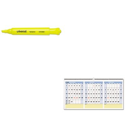 KITAAGPM1528UNV08861 - Value Kit - At-a-Glance QuickNotes Three-Month Horizontal Wall Calendar (AAGPM1528) and Universal Desk Highlighter (UNV08861)