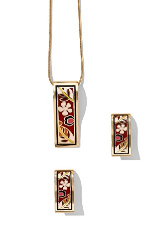 Rectangle Necklace With Pierced Stud Earrings Snake Chain Floral Enamel Jewel Set (dark red, pink, flowers)
