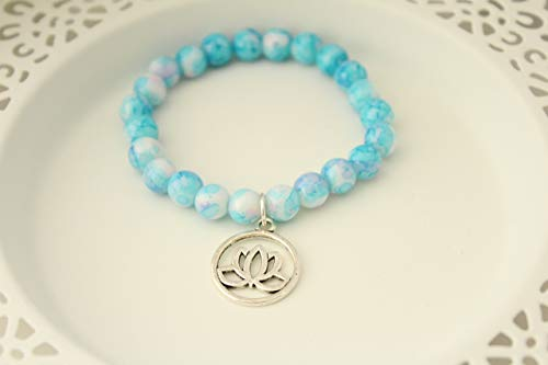 Blue Glass Bead Stretch Bracelet with Lotus Flower Charm