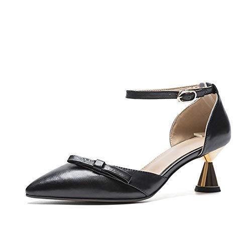 Noir ZHZNVX Chaussures Femme Nappa Cuir Printemps & Eté Confort Talons Cone Heel Noir Ahommede 38 EU