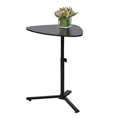 Round Side Table Sofa End Table Mobile Laptop Computer Desk Adjustable Bedside Table Overbed Nightstand Modern Furniture Decor Snack Tray Tables for Living Room Balcony Home Office Bedroom (Black)