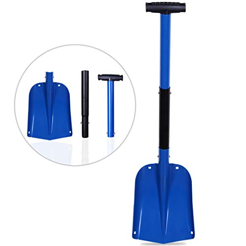 CARTMAN Sport Utility Scalable Camping Snow Shovel for Car, Portable Aluminium Shovel(Blue)
