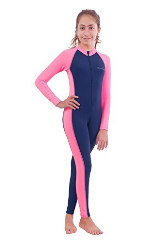 Girls Full Body Swimsuit UV Swimwear Chlorine Resistant UPF50+ Navy Pink (6)