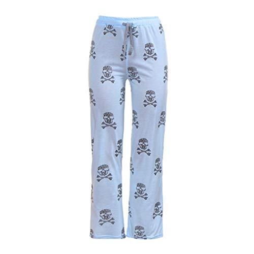 de Cintura Ancha de Pantalón Alta de con Pantalones Yoga Estilo ASHOP Cordón de Impreso Fitness Mujer Cielo Azul Jeans Vaqueros Boho Pantalones Cintura de Calaveras Leggings Estampado Ocio qwZYtn
