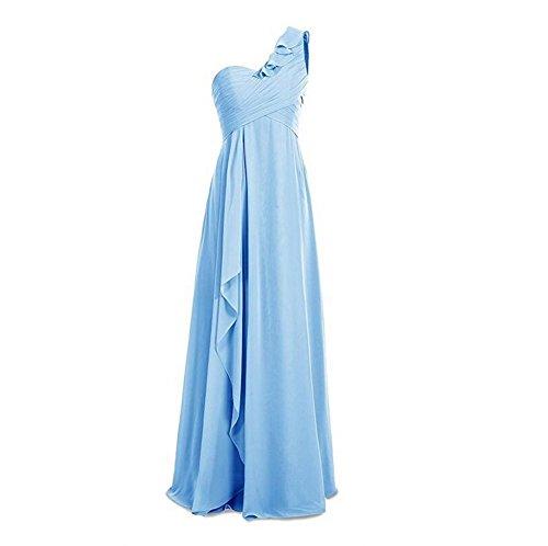 Bridesmaid Beauty Party Blue Long Womens Chiffon Dress Ruched AK Shoulder Evening One 1IwqHdy