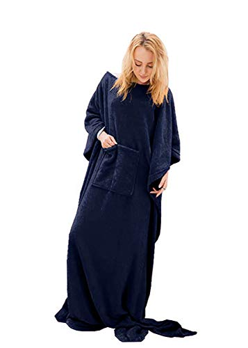 Chemstar Fleece Wearable Blanket with Sleeves, Front Pocket Foot Pocket for Women Men, Super Soft Warm and Cozy (Navy)