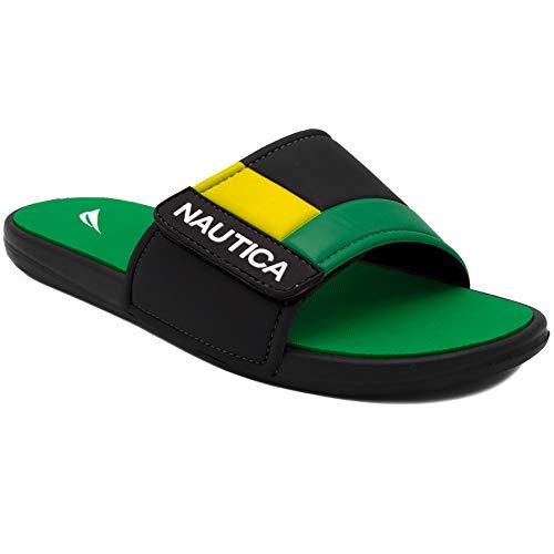 Nautica Mens Bower Slide Sandal,Green/Yellow,8