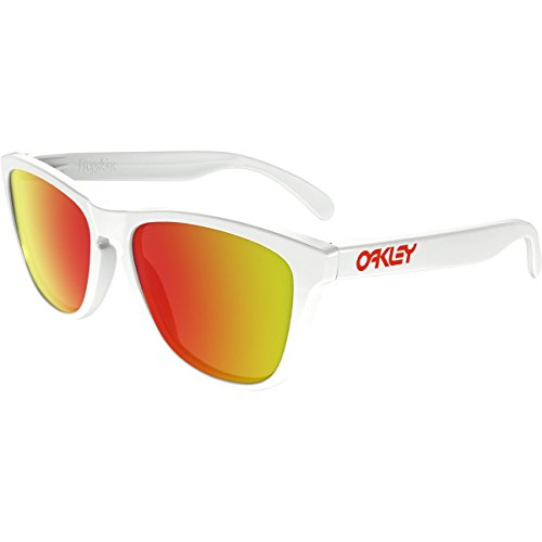 Oakley Men's Frogskins (a) Non-Polarized Iridium Rectangular Sunglasses, Polished White, 54 - White Sunglasses Oakley