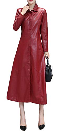 Itemnew Woman's Slim Fit Button-Down Faux Leather Jacket Midi Length Dress Windbreaker (X-Large, Wine Red)