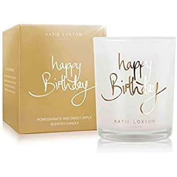 Katie Loxton Happy Birthday Gold Tone 5.6 Ounce Soy Wax Jar Candle - Pomegranate and Sweet Apple