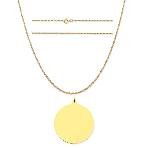 14k Yellow Gold Round Disc Charm on a 14K Yellow Gold Carded Rope Chain Necklace, - C 13 Round Yellow