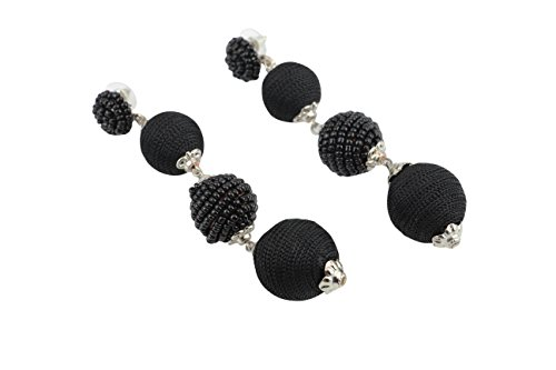 (MYTR Trendy Black Thread and Beads Triple Drop Balls dangle Earrings for Women and Girls)