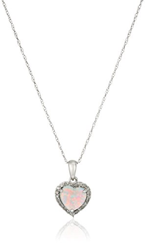 10k Yellow Gold, October Birthstone, Simulated Opal and Diamond Heart Pendant
