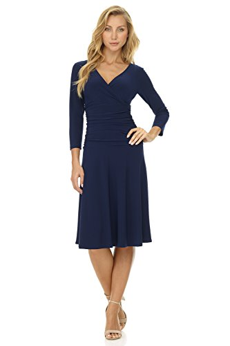 Rekucci Women's Slimming 3/4 Sleeve Fit-and-Flare Crossover Tummy Control Dress - Knit Dress Cross Front