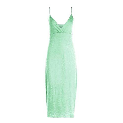 Damen Kleid Träger Wickeltop Körperform Sommer Freizeit Midi Kleid - Apfelgrün, S/M (36/38)