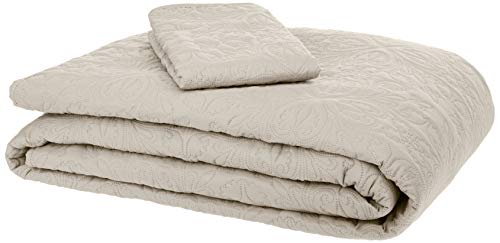 AmazonBasics Oversized Quilt Coverlet Bed Set - Twin, Beige Floral (Bed Quilt)