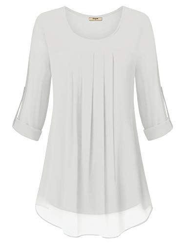 Timeson Tunic Tops for Women, Women's Chiffon Tunic Pleated Front Double Layers Swimg Comfy Office Blouses Shirt for Leggings for Casual Business Work White X-Large by Timeson