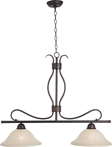 3 Light Basix Pendant (Maxim 10126WSOI Basix 2-Light Pendant, Oil Rubbed Bronze Finish, Wilshire Glass, MB Incandescent Incandescent Bulb , 60W Max., Dry Safety Rating, Standard Dimmable, Linen Fabric Shade Material, Rated Lumens)
